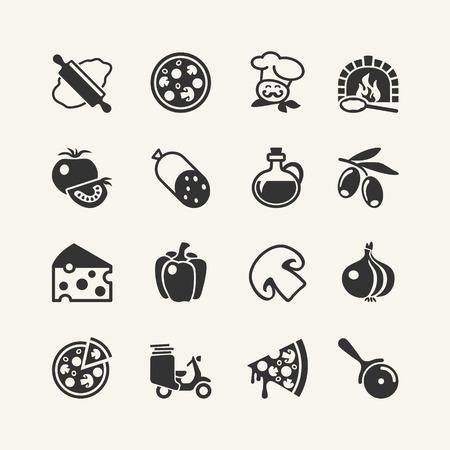 Italiaanse traditionele pizza - web icons set