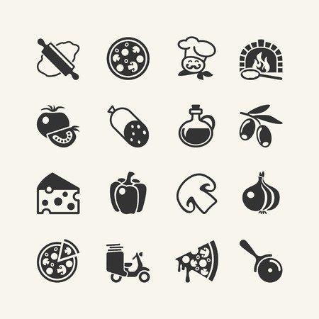 pizza oven: Italian traditional pizza - web icons set