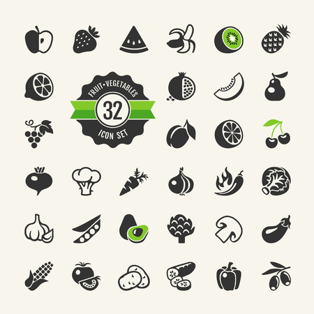 Fruit and Vegetables vector web icon set Illustration