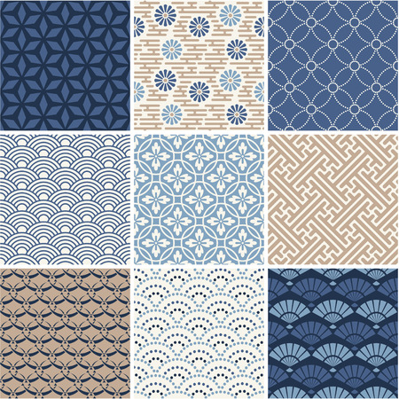 Japan seamless pattern collection  Stock Illustratie
