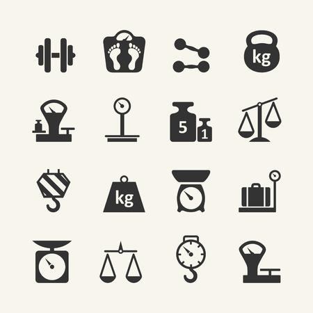 balanza en equilibrio: Conjunto de iconos Web - escalas, pesaje, el peso, el equilibrio