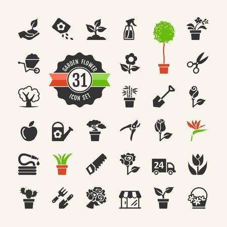 Bloem en Tuingereedschap Icons set