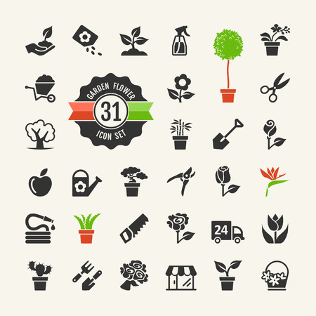 Flower and Gardening Tools Icons set Ilustracja