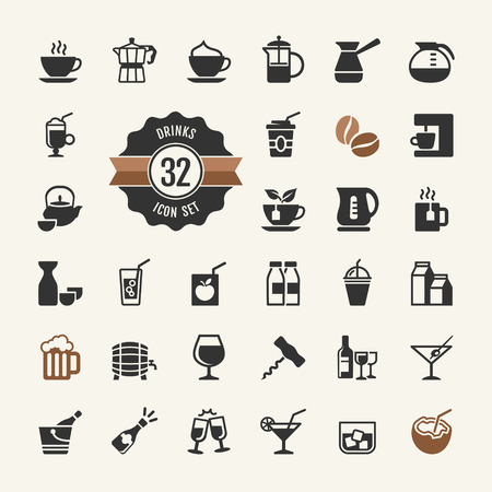 coconut: Basic - Drink Icons vector set Illustration