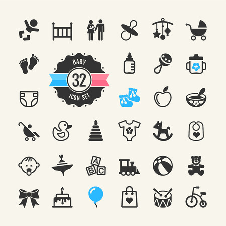 Web icon set  Baby, toys and care  Vector