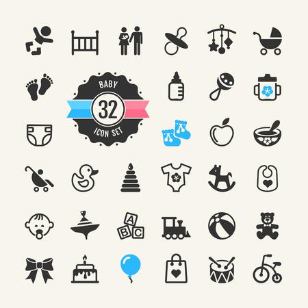 pie bebe: Web icono conjunto para bebés, juguetes y atención