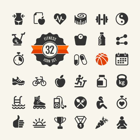 health and fitness: Set health and fitness pictograms for web