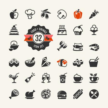 cocineras: Alimentos y bebidas web icon set