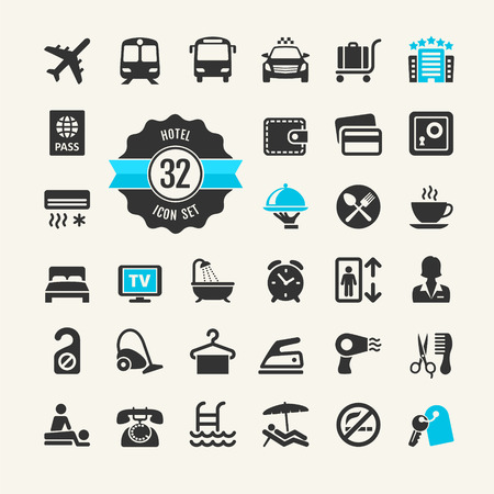 breakfast in bed: Hotel services web icon set  Illustration