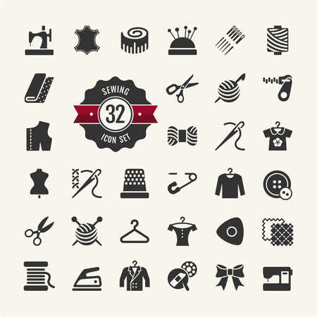 coser: Vector equipos de costura y costura icon set