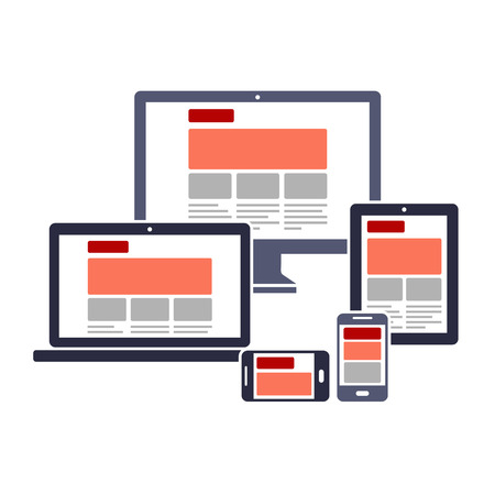 touch screen interface: Responsive web design on different devices Illustration