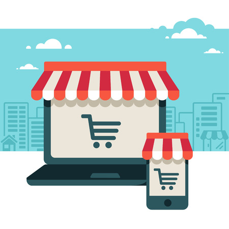 shopping cart: On line store  Sale, Laptop and smart phone with awning  Illustration