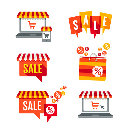 Sale tags, Laptop with awning and shopping bag icons set  Illustration