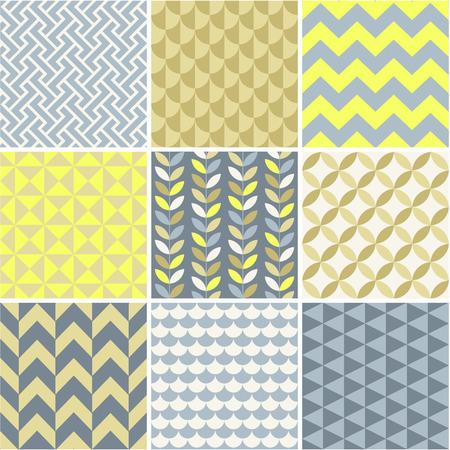 Seamless patterns set - simple geometry  Seamless patterns set - simple geometry