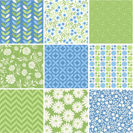 simple geometry: Seamless vector patterns set - summer floral backgrounds