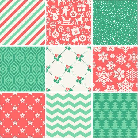 Set of 9 Christmas seamless patterns Illustration