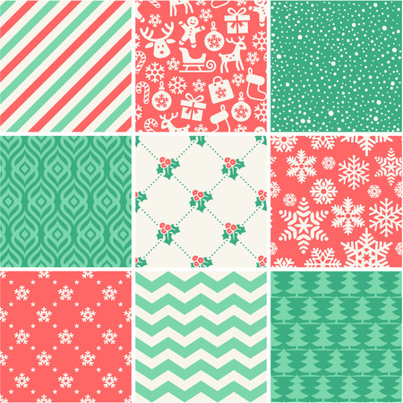 Set of 9 Christmas seamless patterns Vectores