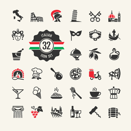 Travel - web icon set  Attractions, food and culture of Italy