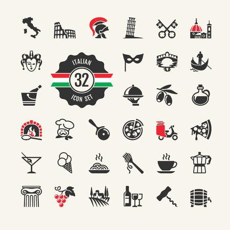 cascos romanos: Viajes - Web icono conjunto Atracciones, comida y la cultura de Italia Vectores