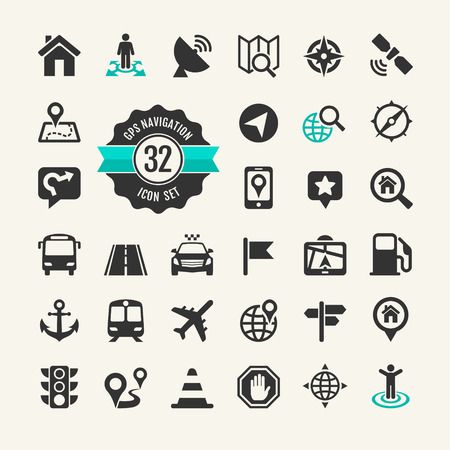 Web icon set  Location, navigation, transport, map  Ilustração