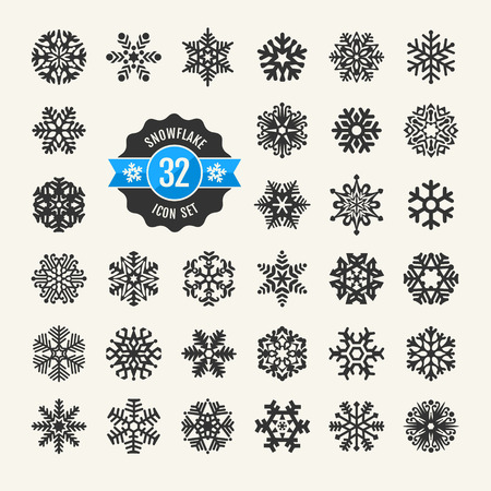 Snowflakes vector collection  Web icon set   Illustration