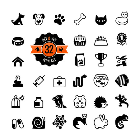 a snake in a bag: Web icon set - pet, vet, pet shop, types of pets