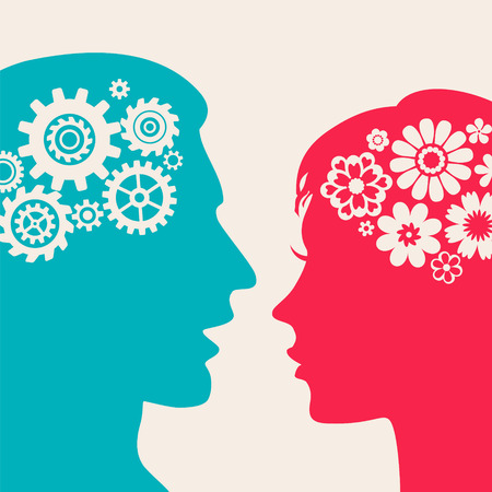 man face profile: Two silhouettes - man with gears, woman with flowers