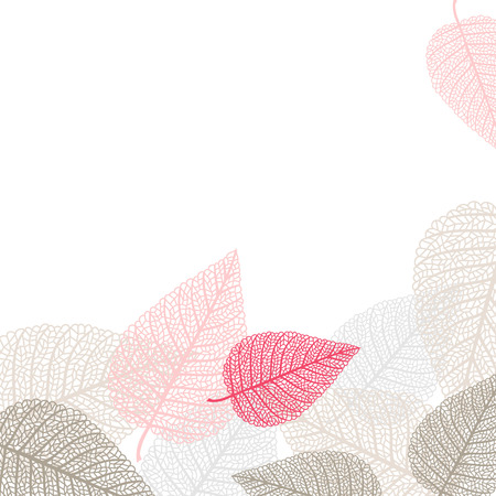 Romantic vector background with skeletons of leaves