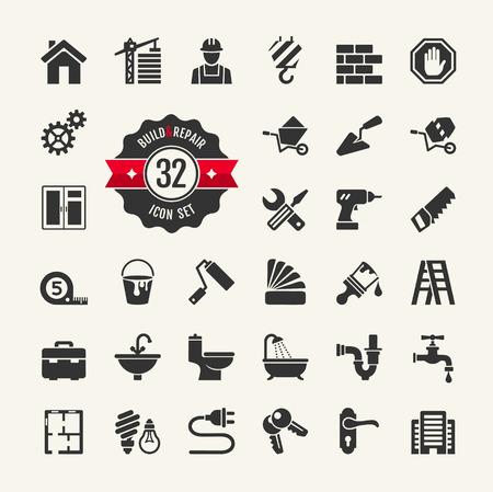 pintor: Herramientas para la construcción, la construcción y reparación de viviendas - conjunto de iconos Web Vectores
