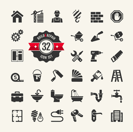 Web icon set - building, construction and home repair tools  Vector