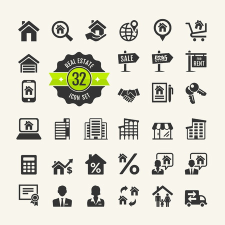 garage on house: Set web icons  Real Estate, property