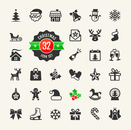 Kerst en wintervakanties icon set Stock Illustratie