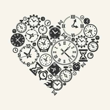Vector hours heart Illustration