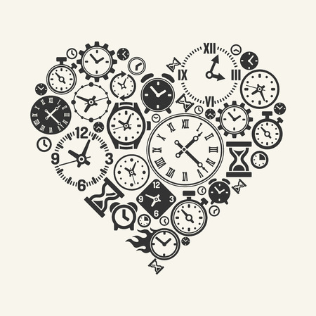 part time: Vector hours heart Illustration
