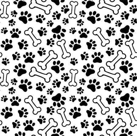 Naadloze achtergrond - huisdier pootafdruk en bot Stock Illustratie