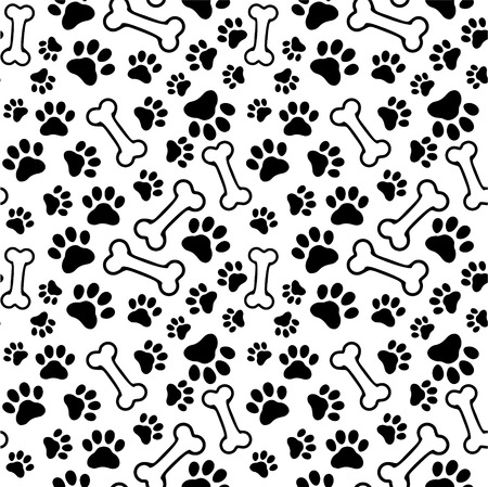 dog track: Seamless background - pet paw print and bone Illustration