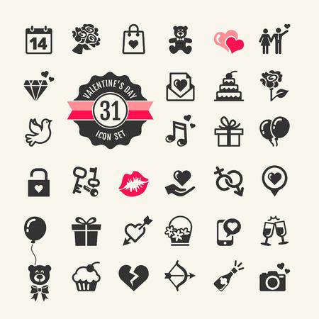 romantic heart: Web icon set - Valentine s day Illustration
