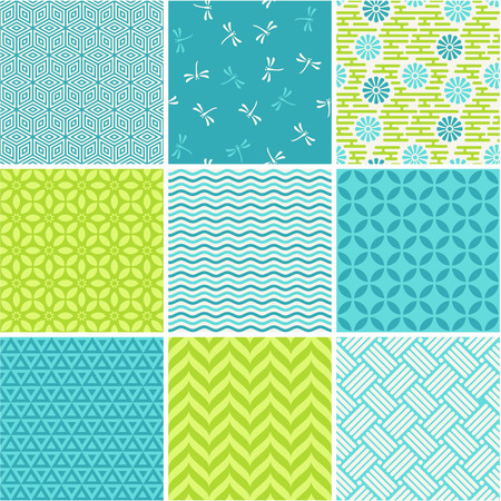 Seamless patterns set - simple summer theme
