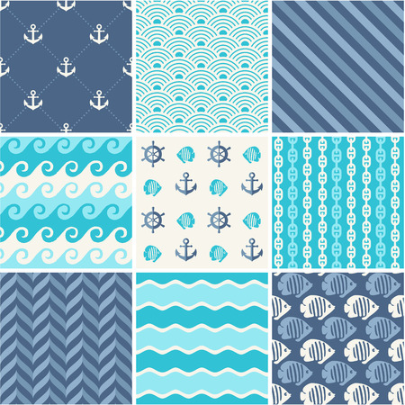 Navy vector seamless patterns set  waves, anchors, chains