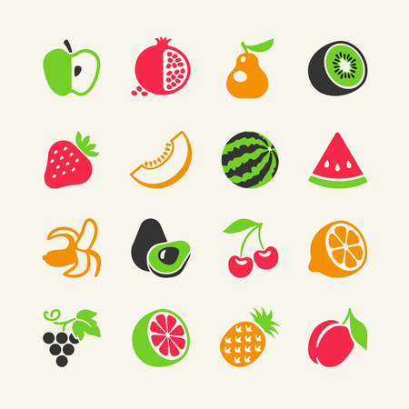 Set of colorful simple icons - fruits and berries Vector