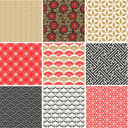 pattern seamless: Japanische nahtlose Muster eingestellt Illustration