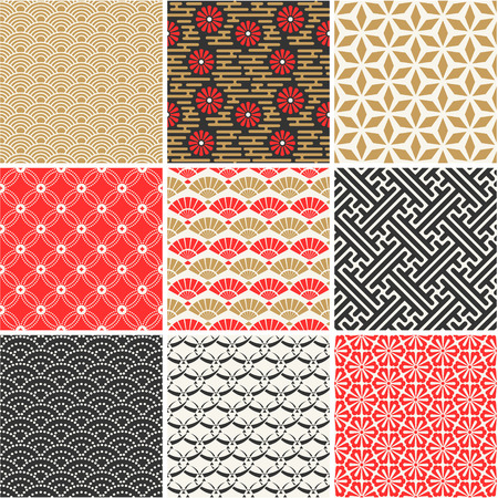 japonais: Vecteur japonais seamless patterns définis Illustration