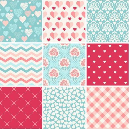 Seamless patterns set - Romance, love and wedding theme Illustration