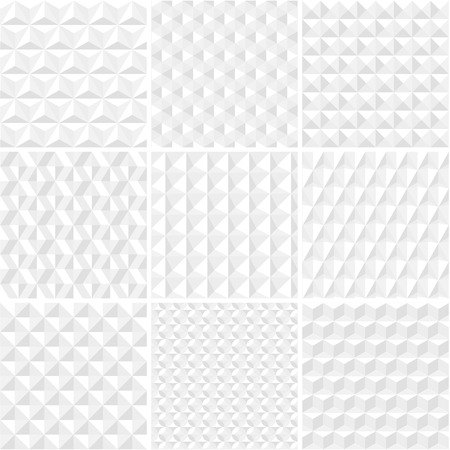 White geometric seamless background collection Illustration