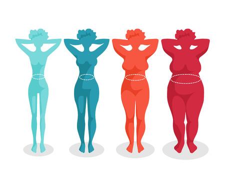 sedentario: De comida rápida y el cuerpo Las mujeres con diferente masa corporal Vectores