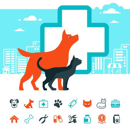 Vector veterinaire embleem en huisdieren icon set