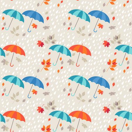 Seamless background - autumn rain, umbrellas and leaf fall