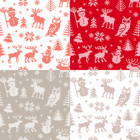 Christmas background set with deer and owl for knitting Vector