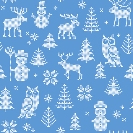 Christmas background with deer for knitting Vector