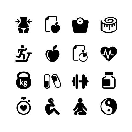 zdraví: Set - 16 Zdraví a fitness ikony Ilustrace